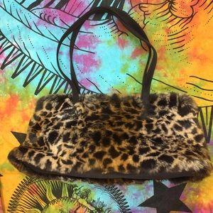 Wilson's Leather Leopard Print Rabbit Fur Purse